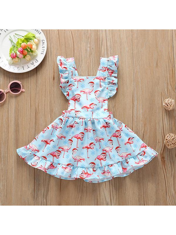 【6M-3Y】Girls Flamingo Print Sleeveless Dress