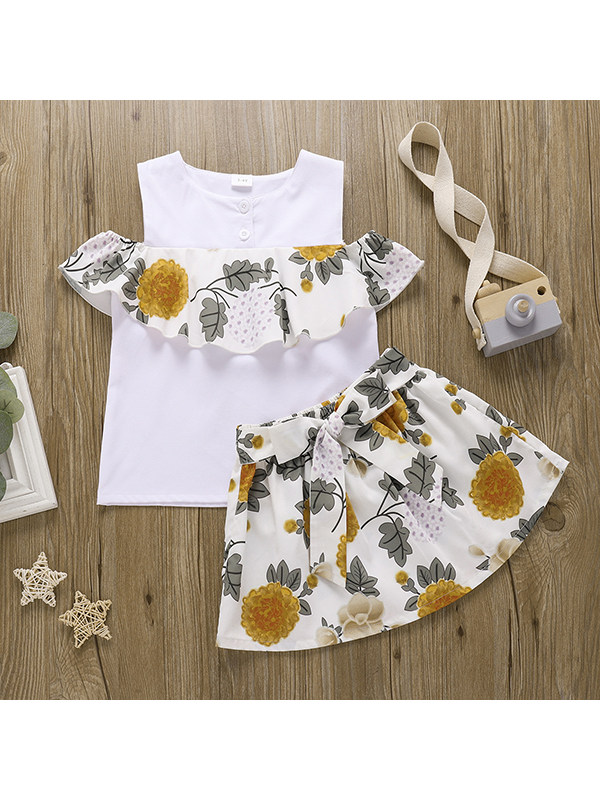 【18M-7Y】Girls Sleeveless Sleeveless Ruffle Top with Flower Half Skirt Set