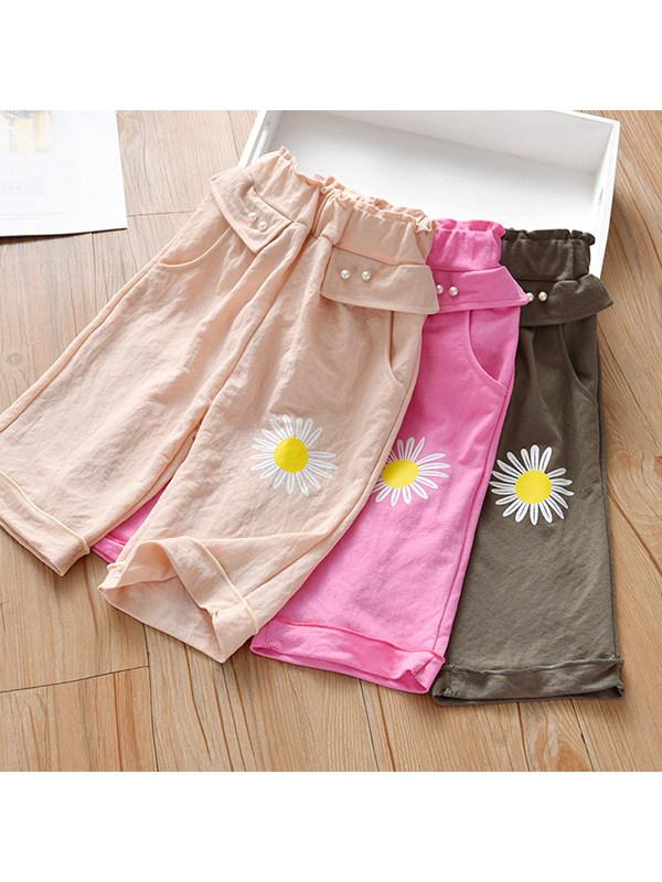 【18M-7Y】Girls Loose Printed Cropped Chiffon Wide-leg Pants