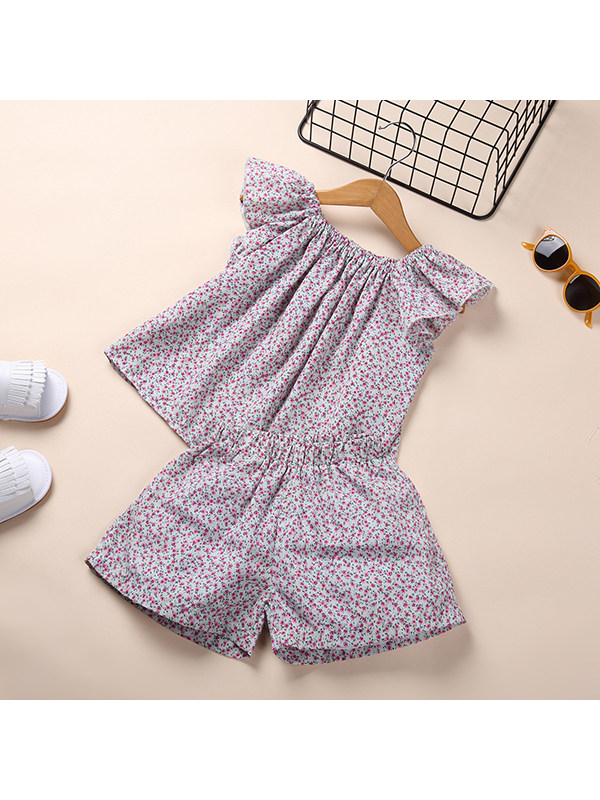 【18M-7Y】Girls Round Neck Flying Sleeve Floral Top with Shorts Set