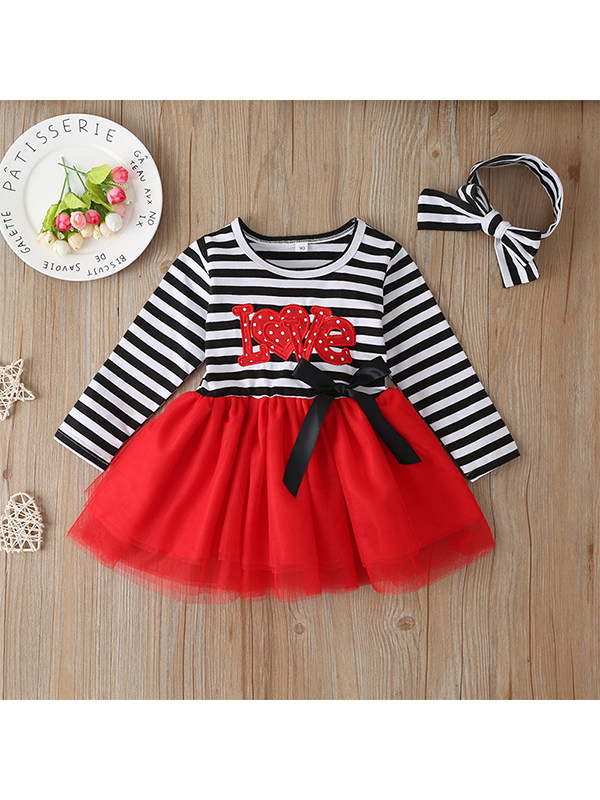 【18M-7Y】Girls' Tie Cloth Letter Mesh Striped Dress