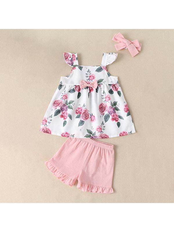 【6M-2.5Y】Girls Printed Sleeveless Top Dress Pink Shorts Set
