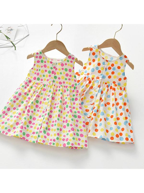 【18M-7Y】Girls Polka Dot Button Vest Dress