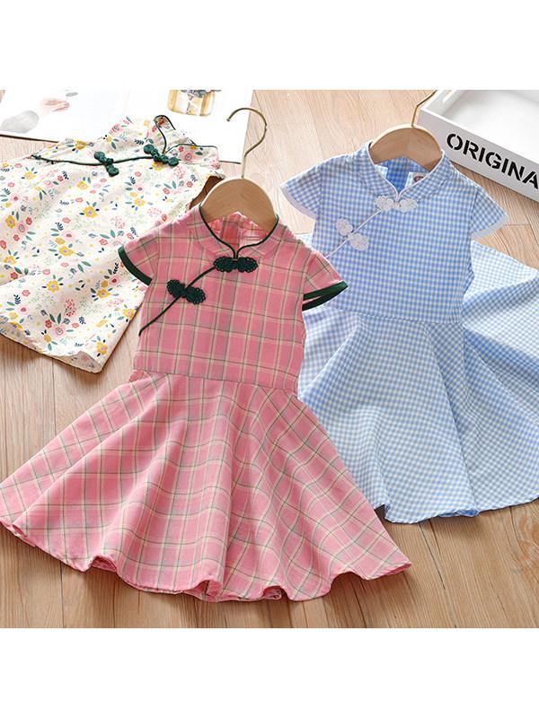【18M-9Y】Girls Short-sleeved Cheongsam Dress
