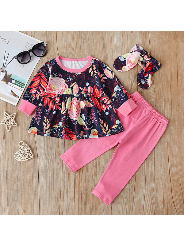 【3M-4Y】Toddler Print Top Pink Trousers Casual Suit