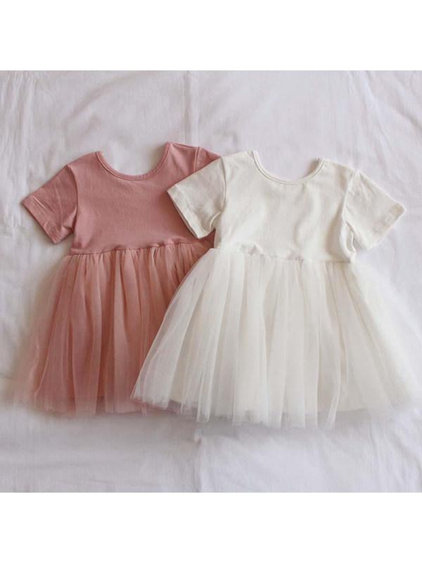 【12M-7Y】Girls' Round Neck Short-sleeved Stitching Mesh Dress