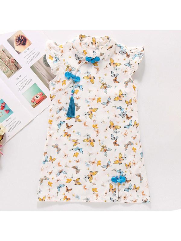 【2Y-9Y】Girl Sweet Butterfly Pattern Short Sleeve Dress
