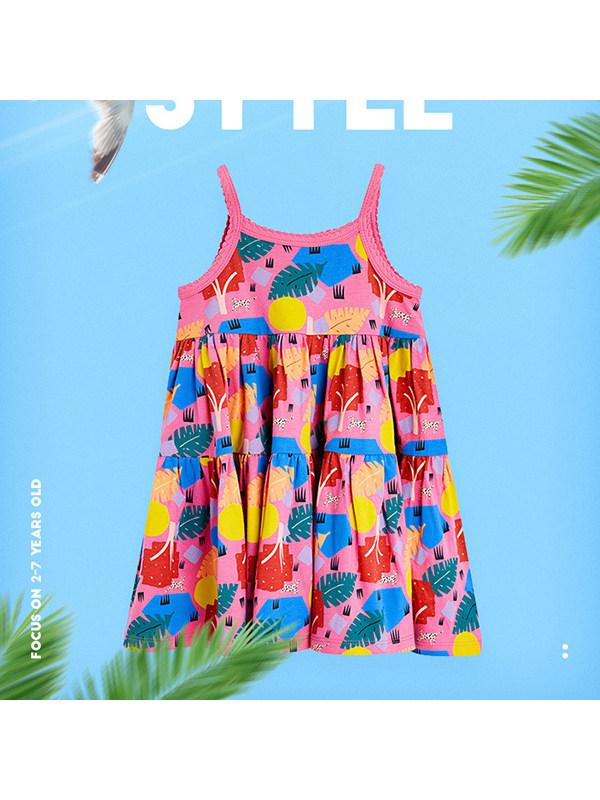 【18M-9Y】Girls' Print Sling Cotton Dress