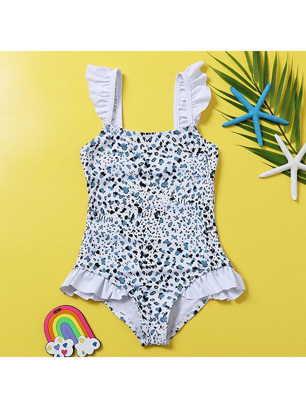 【18M-5Y】Girls Leopard Print One-piece Swimsuit