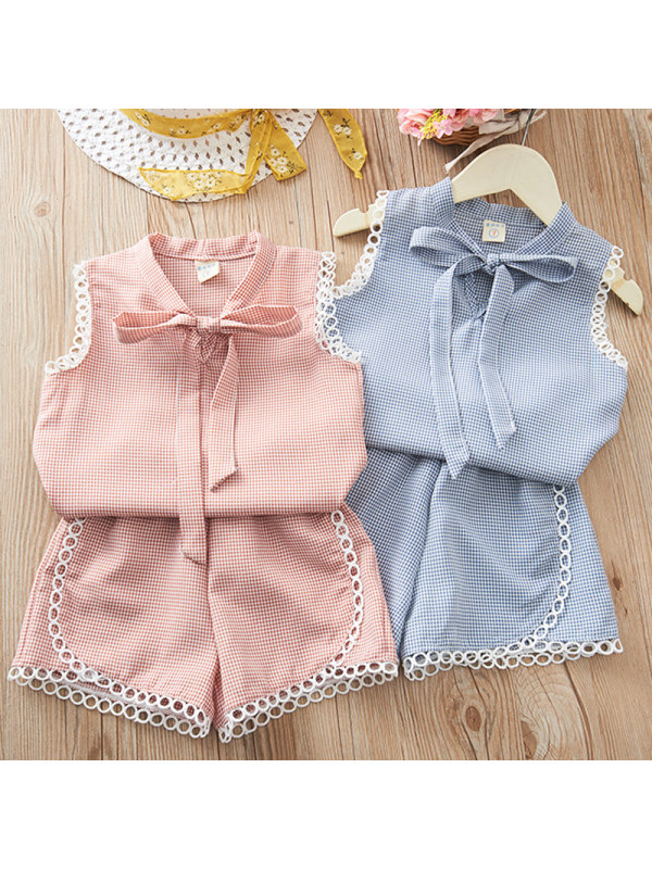 【18M-7Y】Girls Sweet Plaid Lace Top and Shorts Set