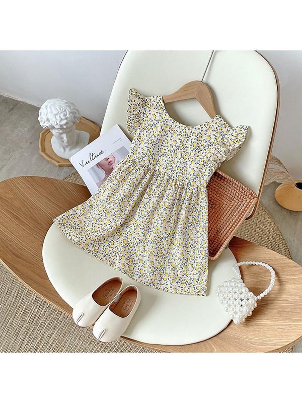 【18M-9Y】Girls Floral Halter Sweet Flying Sleeve Dress