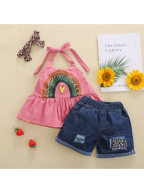 【18M-7Y】Girls Rainbow Print Camisole Shorts Set