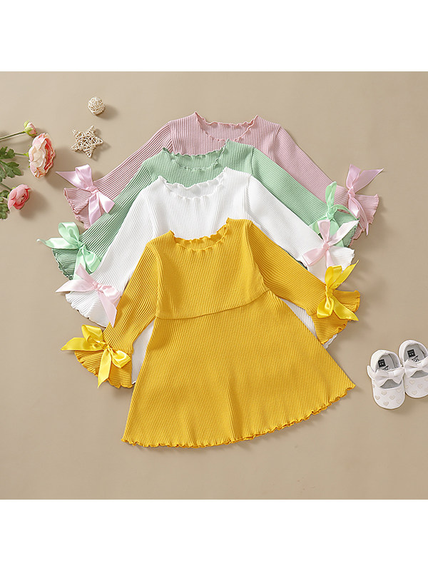 【12M-5Y】Girls Hang Striped Cotton Bowknot Solid Color Dress