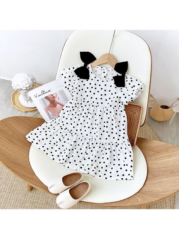 【18M-7Y】Girls' Polka Dot Bowknot Puff Sleeve Dress