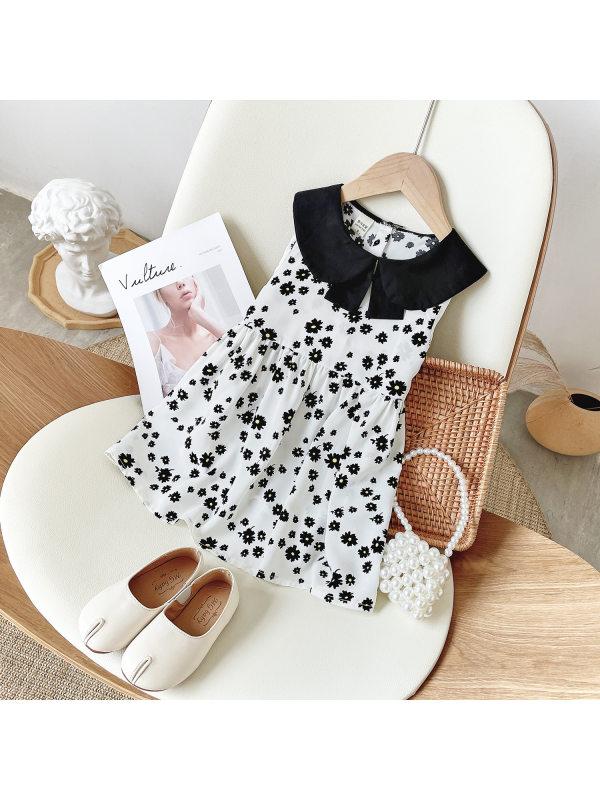 【18M-9Y】Girls Doll Collar Sleeveless Chiffon Floral Dress