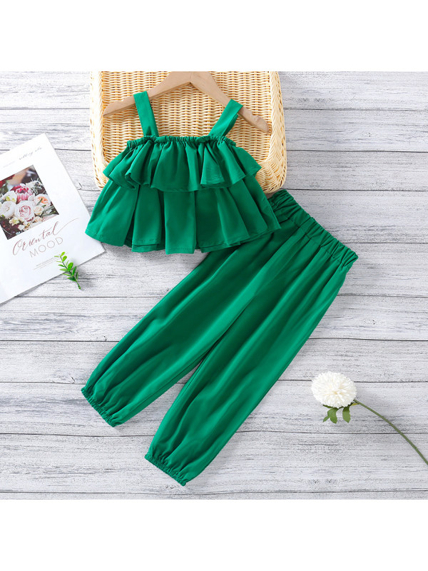 【18M-7Y】Sweet Ruffled Top and Trouser Set