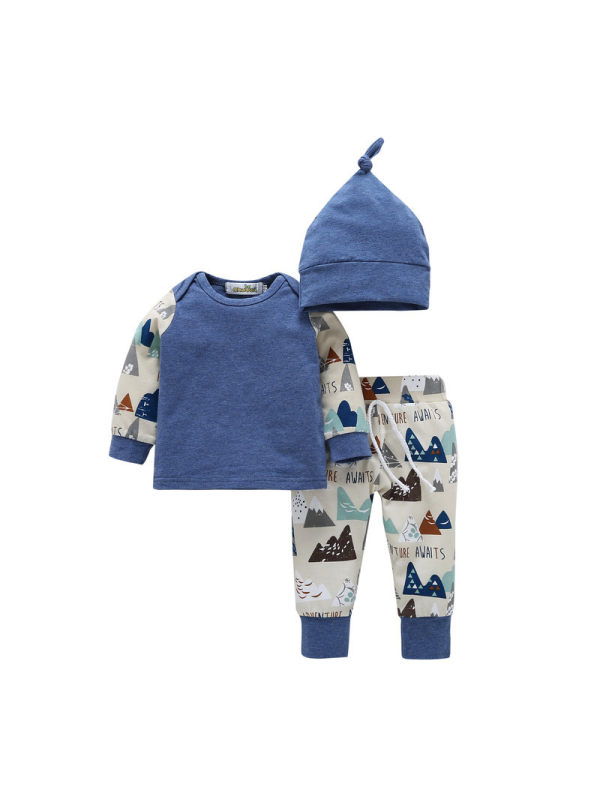 【6M-3Y】Baby Three-piece T-shirt Trousers Hat Kids Suit