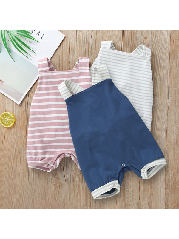 【6M-4Y】Baby Jumpsuit Sleeveless Striped Romper Short Romper