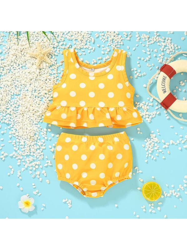 【12M-5Y】Girls Polka Dot Two-piece Bikini Swimsuit