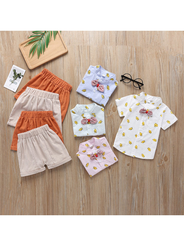 【12M-5Y】Boy's Cartoon Print Bow-knot Decoration Short-sleeved Shirt And Shorts Two-piece Suit