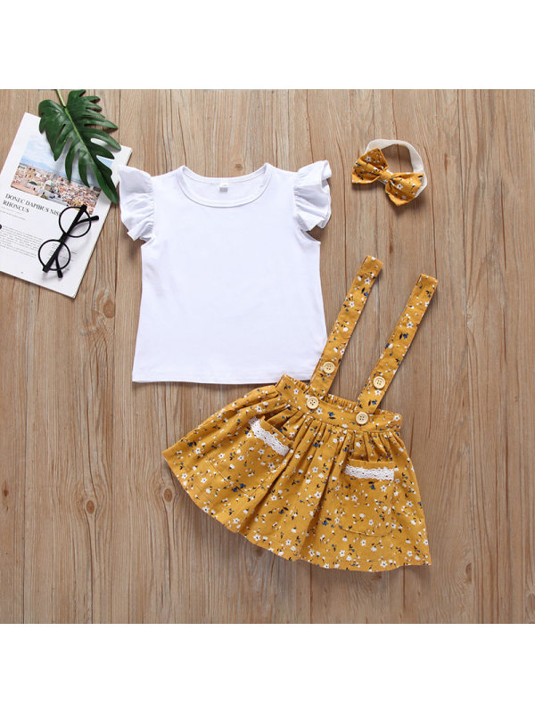 【6M-4Y】Girls' Lotus Leaf Sleeve T-shirt Suspender Dress Two-piece