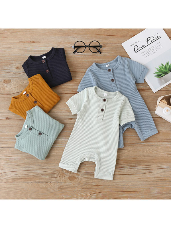【3M-3Y】Solid Color Baby Short-sleeved Jumpsuit