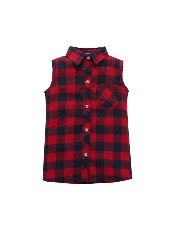 【12M-7Y】Boys' Vest Plaid Shirt