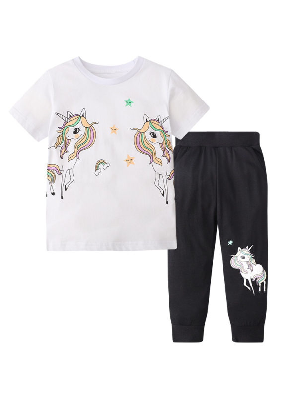 【12M-7Y】Girls Cartoon Print Short-sleeved T-shirt Two-piece Trousers