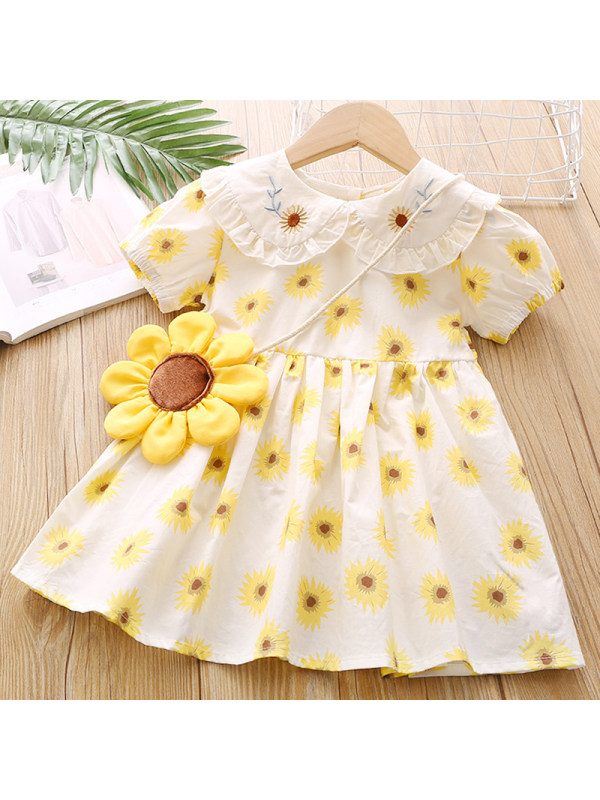 【18M-7Y】Girls Sweet Yellow Flower Short Sleeve Dress with Bag