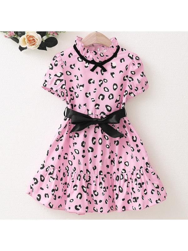 【18M-7Y】Girls Sweet Pink Leopard Print Short Sleeve Dress