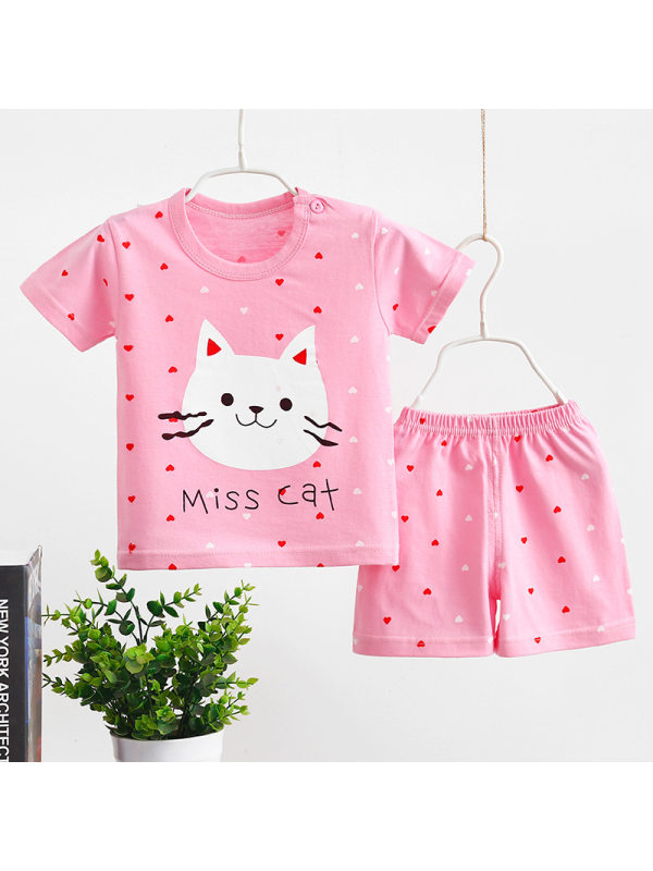 【6M-5Y】Girls Round Neck Short Sleeve Cartoon Print T-shirt With Shorts Suit