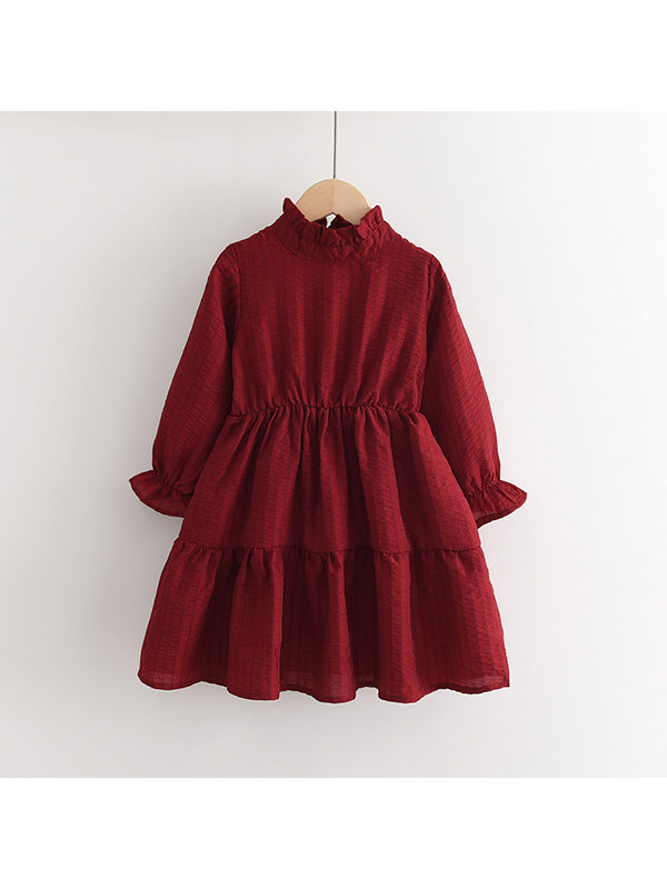 【2Y-9Y】Girls' Stand-up Collar Vertical Striped Puff Sleeve Long Sleeve Dress