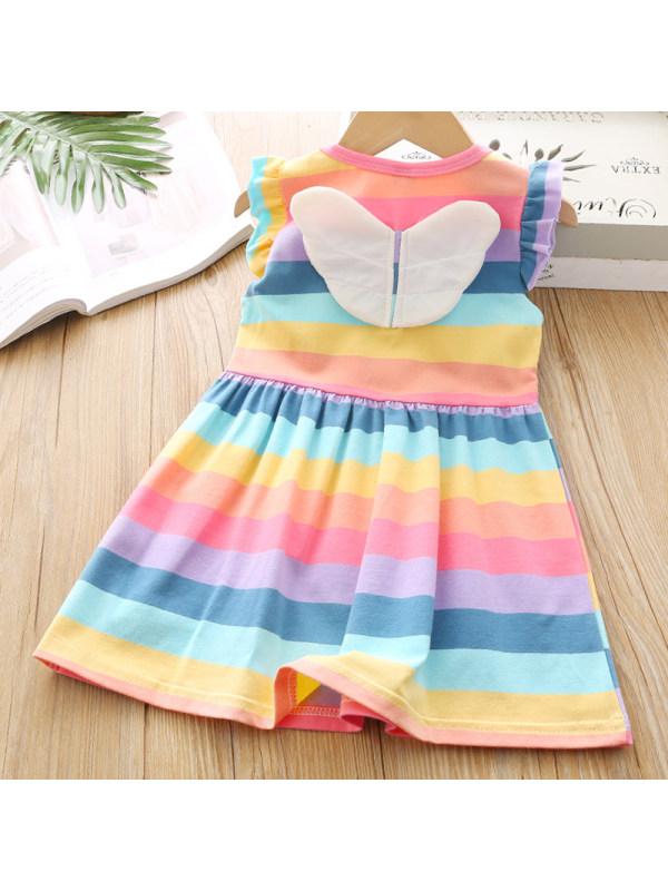 【18M-7Y】Girls Sweet Rainbow Striped Wing Decoration Dress