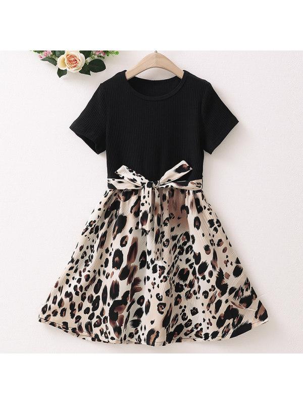 【3Y-9Y】Girl Sweet Black Leopard Print Short Sleeve Dress
