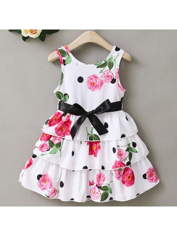 【18M-7Y】Girl Sweet White Polka Dot Flower Cake Dress