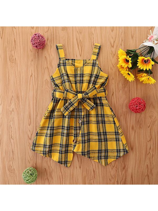 【2Y-9Y】Girls Hanging Sleeveless Irregular Dress