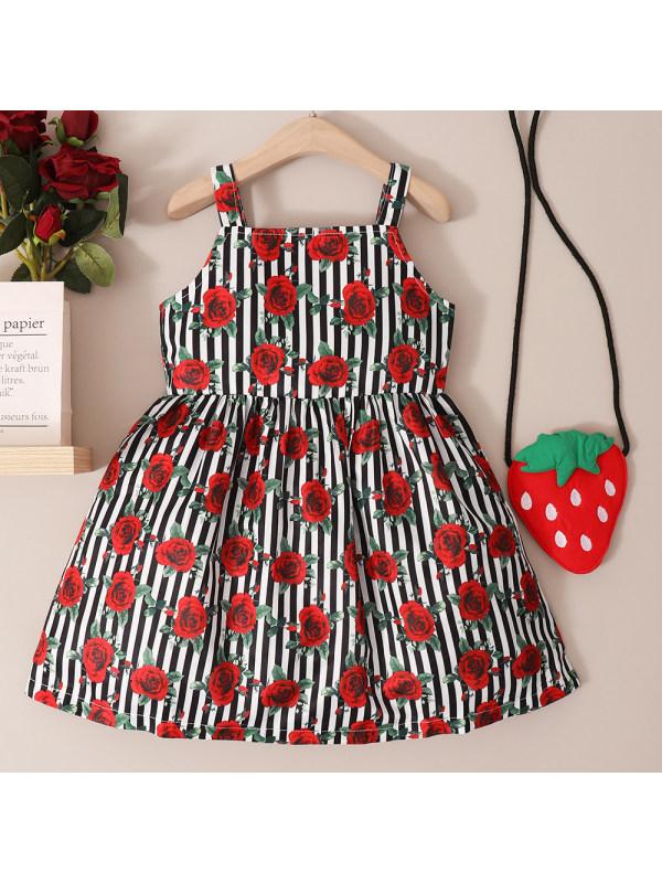 【18M-7Y】Sweet Red Flower Print Sling Dress