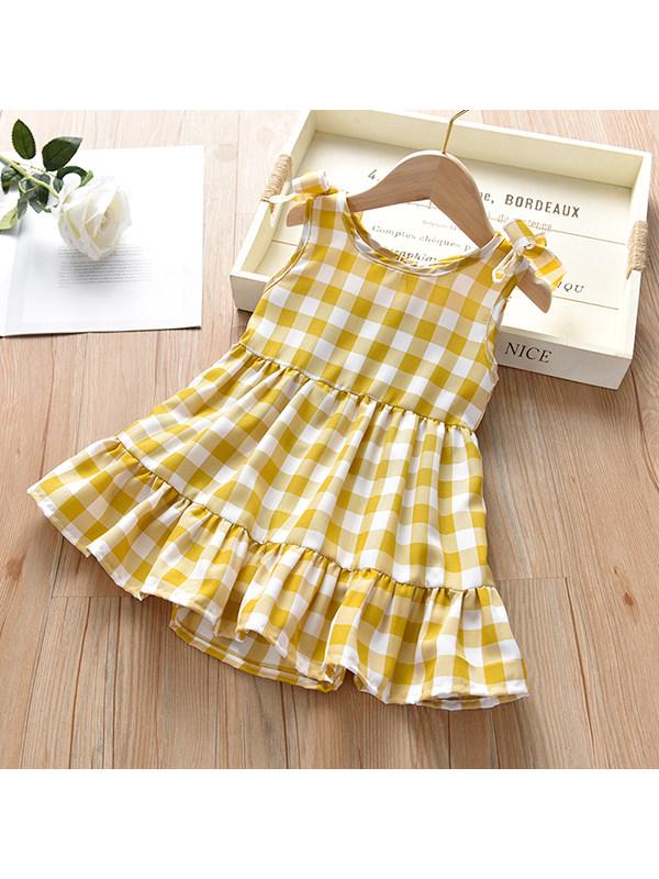 【18M-7Y】Girls Round Neck Sleeveless Plaid Dress