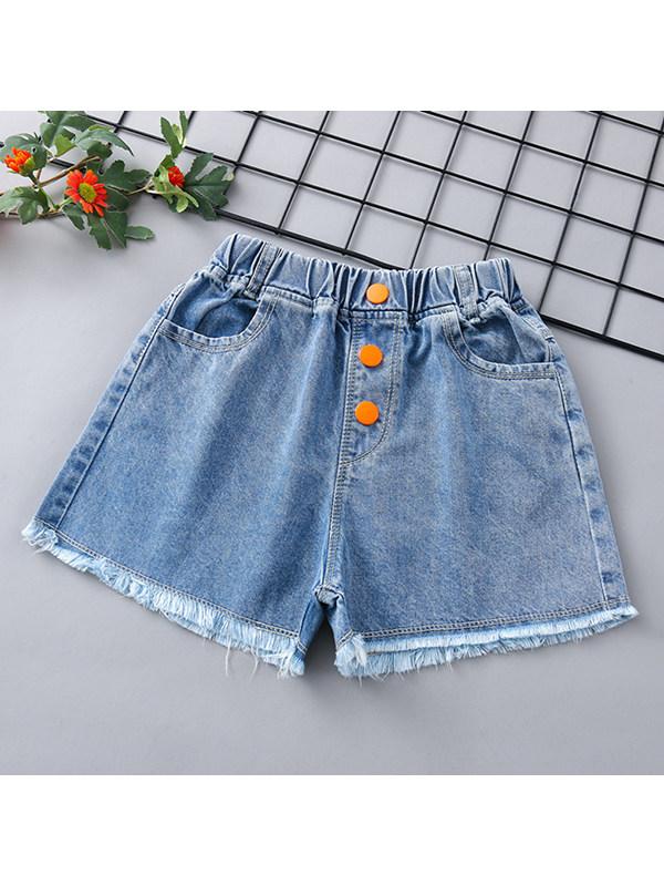 【3Y-13Y】Girls' Five-point Denim Shorts