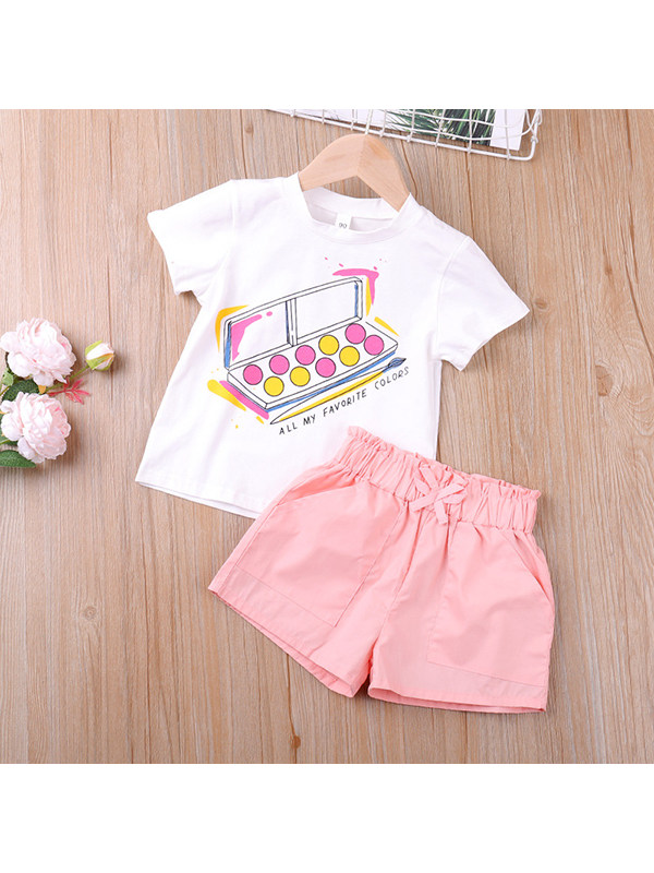【18M-7Y】Girls Print T-shirt Solid Color Shorts Two-piece Suit