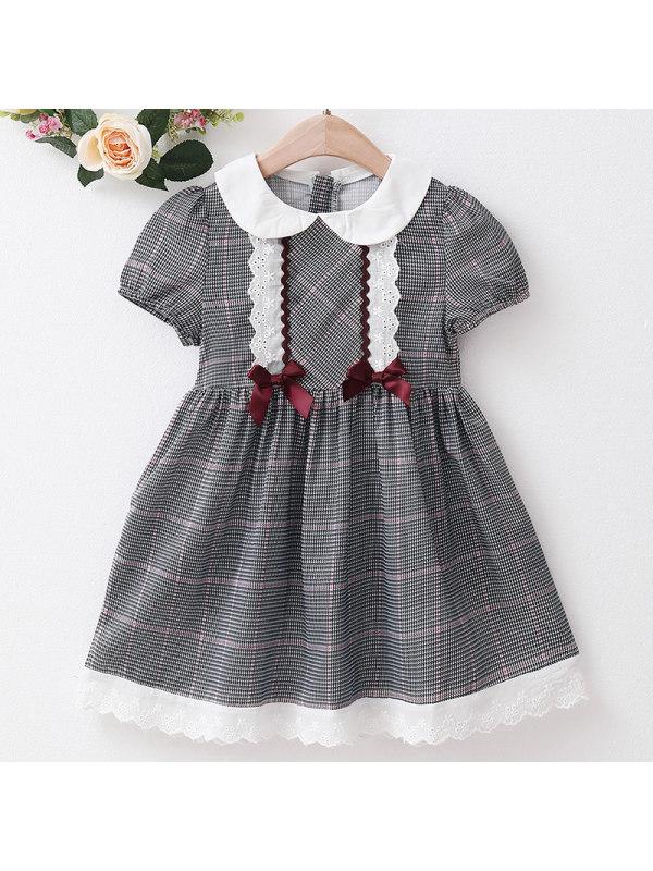 【18M-7Y】Girl Sweet Black Plaid Lapel Short Sleeve Dress