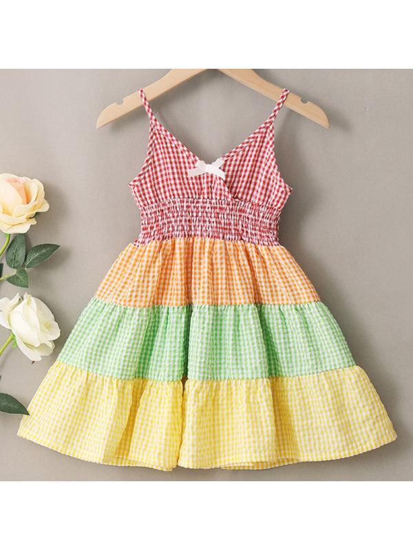 【18M-7Y】Girls Sweet Color Plaid Sling Dress