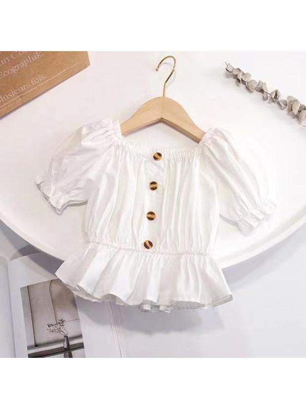 【18M-7Y】Girls Solid Color Short-sleeved Square-neck Shirt