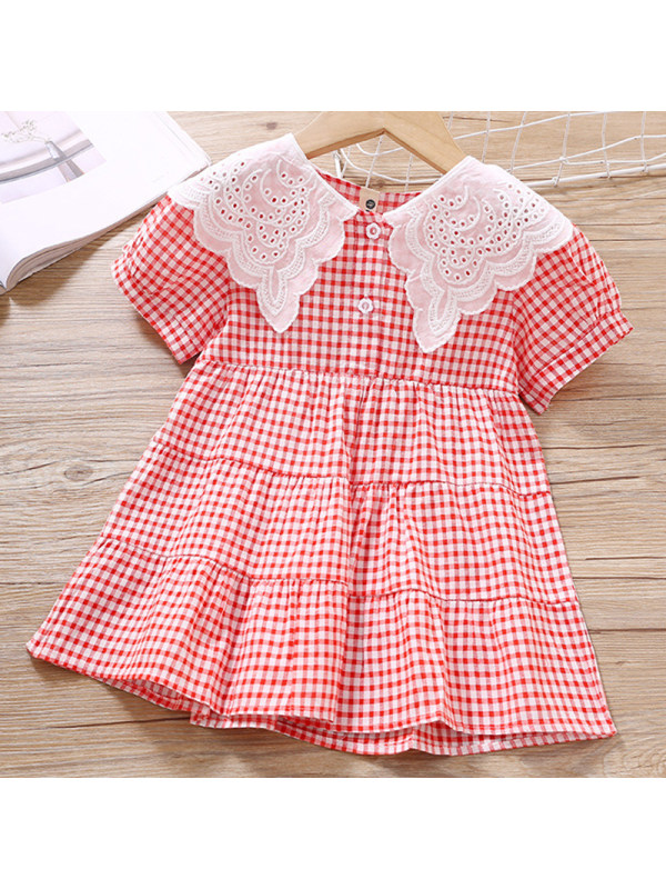 【18M-7Y】Girls Sweet Red Plaid Lace Lapel Short Sleeve Dress