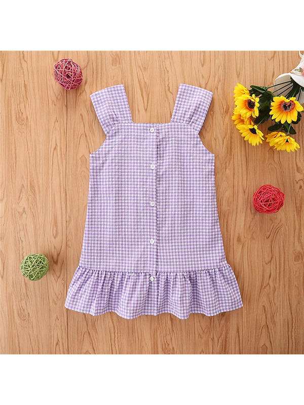 【18M-7Y】Girls Sleeveless Purple Plaid Cute Ruffle Dress