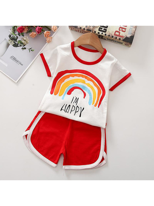 【12M-5Y】Girls Round Neck Short Sleeve Cartoon Print T-shirt With Shorts Suit