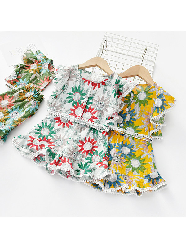 【18M-7Y】Girls Floral Short-sleeved Shorts Two-piece Suit