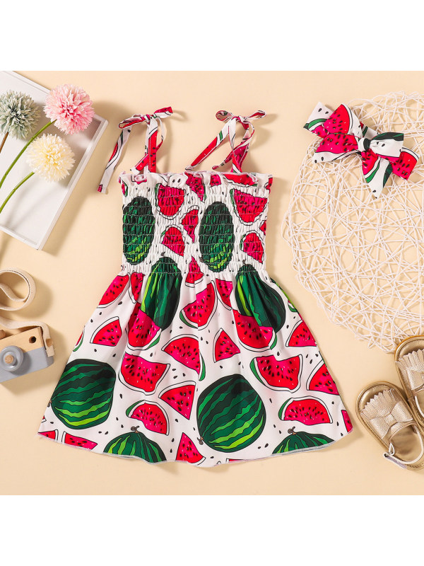 【6M-4Y】Cute Watermelon Print Sling Dress