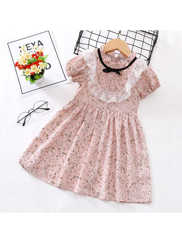 【18M-7Y】Girls Sweet Pink Floral Short Sleeve Dress