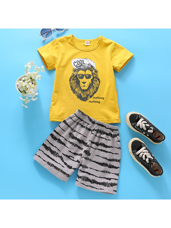【18M-9Y】Boys Round Neck Short Sleeve Cartoon Print T-Shirt With Shorts Set